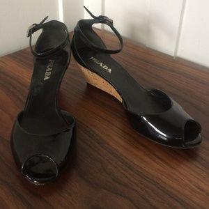 PRADA patent leather cork wedge peep toe 36.5